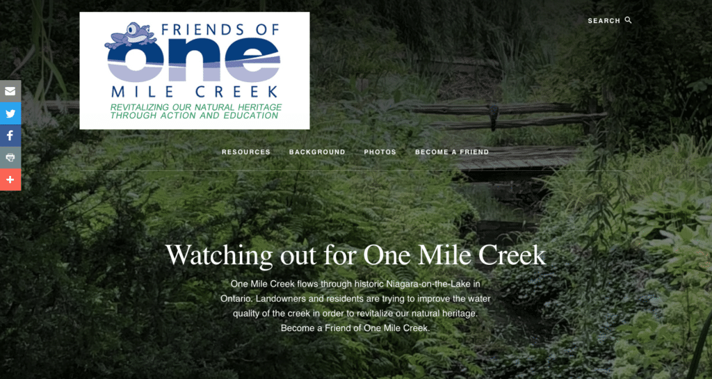 The new website for Friends of One Mile Creek.